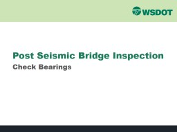 Post Seismic Bridge Inspection