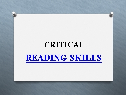 CRITICAL READING SKILLS (1) ESSAY BASICS