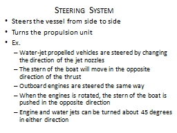 Steering System Steers the vessel from side to side