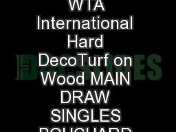 Linz AUT    October    WTA International Hard DecoTurf on Wood MAIN DRAW SINGLES BOUCHARD Eu enie CAN E
