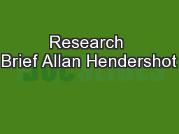 Research Brief Allan Hendershot