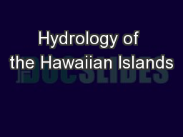 Hydrology of the Hawaiian Islands