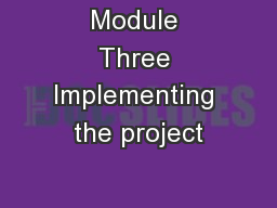 Module Three Implementing the project