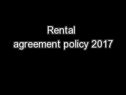 Rental agreement policy 2017