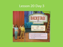 Lesson 20 Day 3 Read Aloud