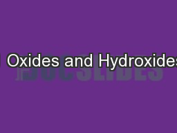 1 Oxides and Hydroxides PowerPoint PPT Presentation