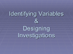 Identifying Variables &