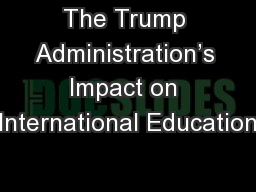 The Trump Administration's Impact on International Education