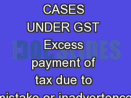 REFUND CASES UNDER GST Excess payment of tax due to mistake or inadvertence.
