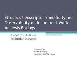 Effects of Descriptor Specificity and