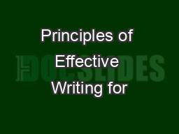 Principles of Effective Writing for