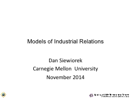 Models of Industrial Relations