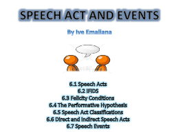 SPEECH ACT AND EVENTS 6.1 Speech Acts