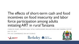 The effects of short-term cash and food incentives on food insecurity and labor force participation