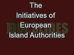The Initiatives of European Island Authorities