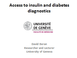 Access to insulin and diabetes diagnostics