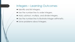 Integers – Learning Outcomes