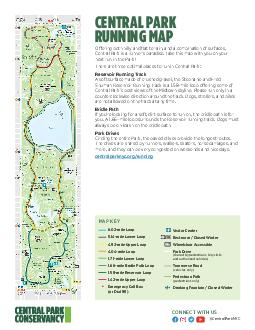Official Central Park Conservancy Running Map Map Key Restrooms  Closed Winter Wheelchair Accessible Visitor Centers Drinking Fountains Emergency Call Boxes or Dial  Park Drive shared by pedestrians b