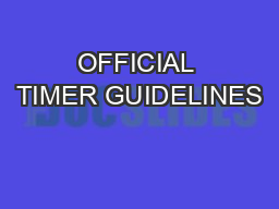 OFFICIAL TIMER GUIDELINES