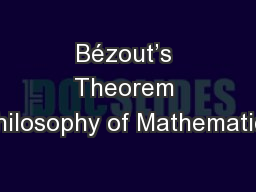 B�zout�s Theorem Philosophy of Mathematics