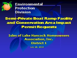 Semi-Private Boat Ramp Facility and Conservation Area Impact Permit Requests