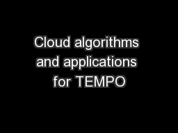 Cloud algorithms and applications for TEMPO