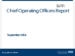Chief Operating Officers Report