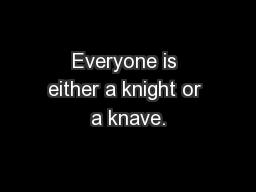 Everyone is either a knight or a knave. PowerPoint PPT Presentation