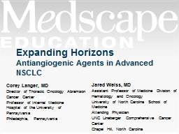 Antiangiogenic   Agents in Advanced NSCLC PowerPoint PPT Presentation