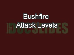Bushfire Attack Levels