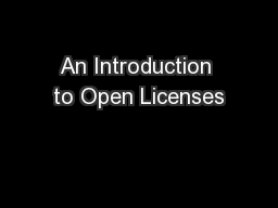 An Introduction to Open Licenses