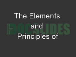 The Elements and Principles of