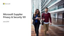 Microsoft Supplier Privacy & Security 101