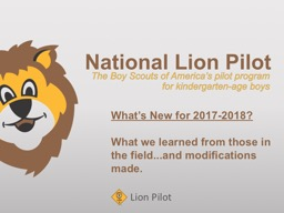National Lion  Pilot   The Boy Scouts of America�s pilot program
