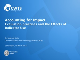 Accounting  for  Impact Evaluation