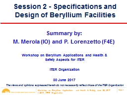 Session 2 - Specifications and Design of Beryllium Facilities PowerPoint PPT Presentation