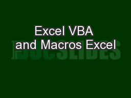 Excel VBA and Macros Excel