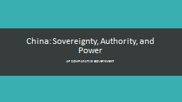 China: Sovereignty, Authority, and Power