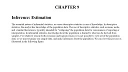 CHAPTER 9 � Inference: Estimation