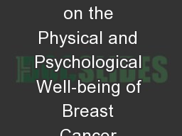 Impact of Mastectomy on the Physical and Psychological Well-being of Breast Cancer Female Patients