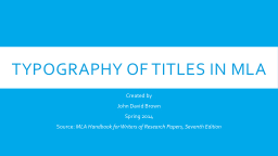 Typography PowerPoint Presentations - PPT