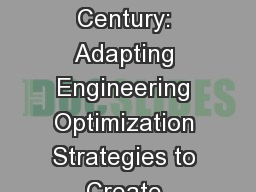 Prevention in the 21st Century: Adapting Engineering Optimization Strategies to Create Leaner, Mean PowerPoint PPT Presentation