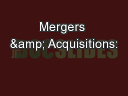 Mergers & Acquisitions: