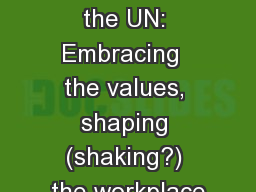 Millennials at the UN: Embracing  the values, shaping (shaking?) the workplace