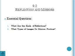 9.2 Reflection and Mirrors