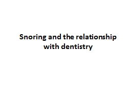 Snoring and the relationship with dentistry