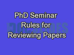 PhD Seminar Rules for Reviewing Papers
