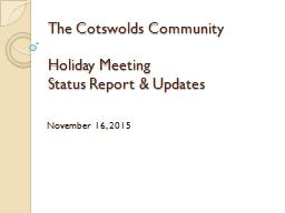 The Cotswolds Community Holiday Meeting