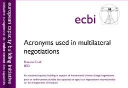 Acronyms  used in multilateral negotiations