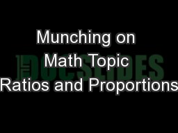 Munching on Math Topic Ratios and Proportions